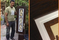 Amazing veneer and inlay example by local artisan woodworker Roberto Gastelumendi. Matting shows off his inlays & frame.