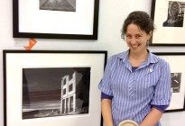 Photographer Arly and her (Panorama Framing) framed photograph at the Emeryville Art Show, 2012