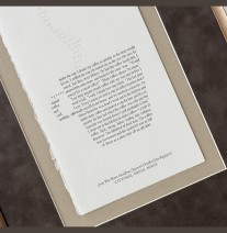 Metal. Suede. Linen. Letterpress. What's not to like? :-) This original letterpress piece is one from an entire book by Littoral Press! Custom framing by Panorama Framing in Oakland.