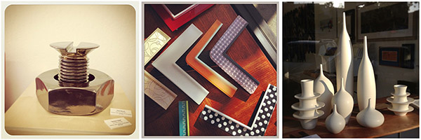 Ceramics by Kylix Design, Sara Paloma, and snazzy acrylic frames from Prisma, at Panorama Framing!